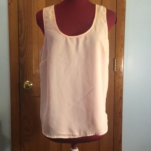 Ali & Kris Sheer Peach Tank Top with Lace Detail